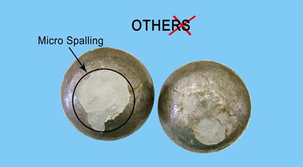 Photograph of OTHERS casting balls showing Micro Spalling