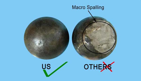 Photograph of OTHERS casting balls showing Macro Spalling