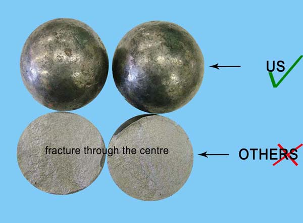 Photograph of OTHERS casting balls showing fracture through the centre